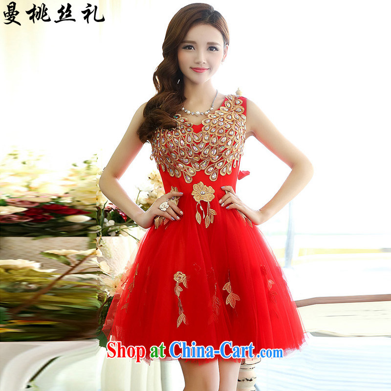 Cayman commercial silk dresses, dresses 2015 spring new V-neck Style Standard Peacock figure marriages served toast short bridesmaid wedding evening dresses show red XL