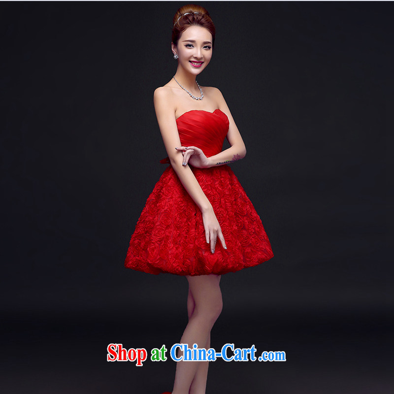 Honey, bride dress short 2015 new Mary Magdalene white chest strap bridesmaid clothing Princess lace sweet little dress uniform chair red XXL