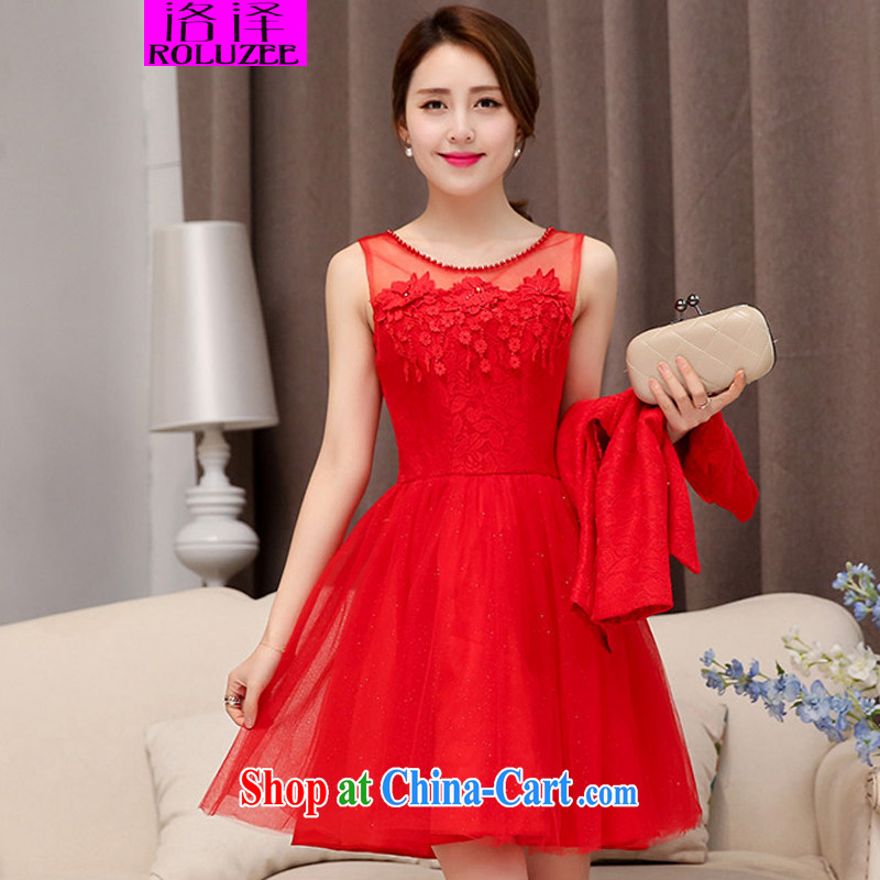 Los Angeles spring new dresses bridal gown bridesmaid dress style beauty dresses dress small jacket two piece set with female Red XXL