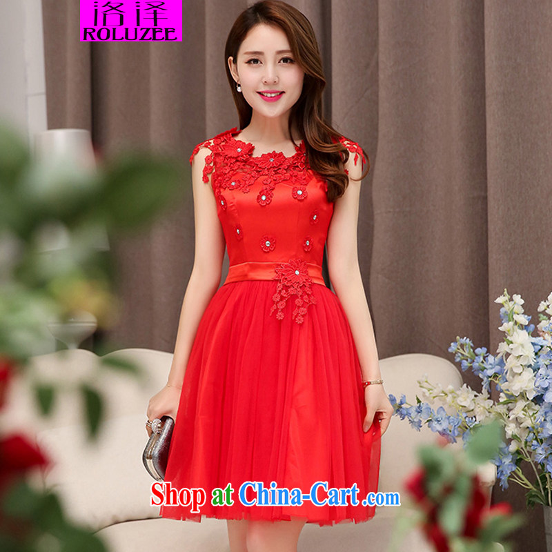 Los Angeles spring 2015 new dresses bridal gown bridesmaid dress manual flowers lace stitching elegance beauty dress dresses red XXL