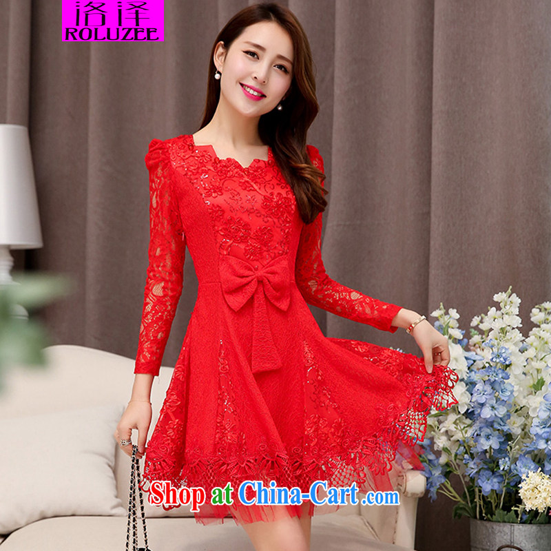Los Angeles 2015 new bride bridesmaid toast wedding dress lace stitching beauty dresses dress red XXL