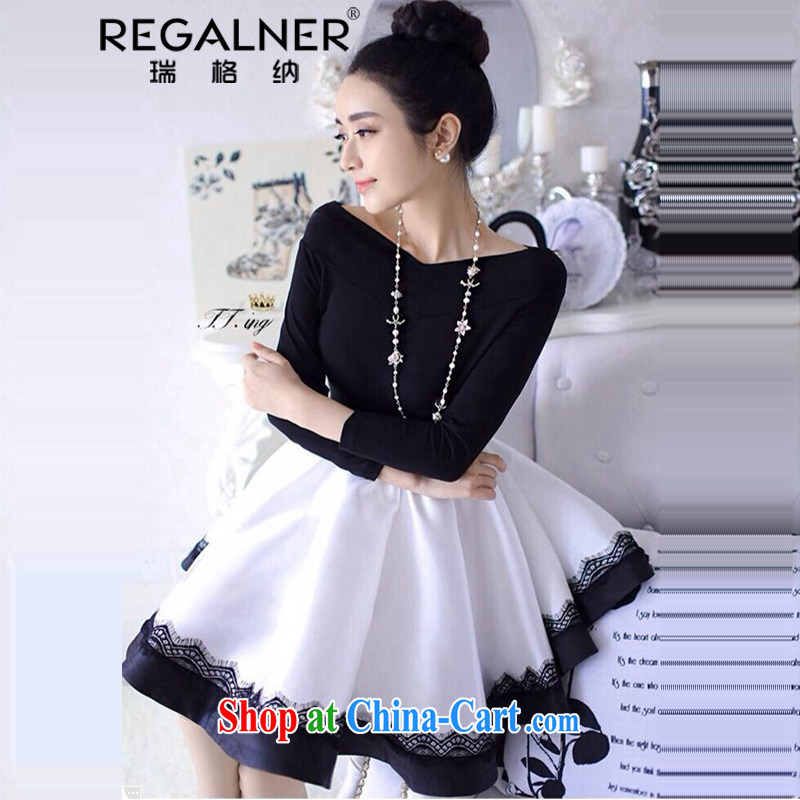 Ryan, 2015 new sexy men black-and-white stitching small dress lace lace a field for your shoulders my store shaggy dress the dresses picture color code