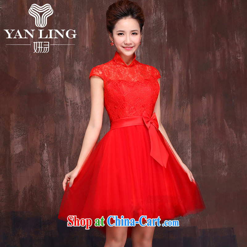 2015 new wedding dress bridesmaid clothing wedding dresses bridal toast clothing dress short dual-shoulder straps red XL