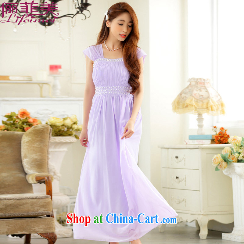 The package mail, Japan, and the ROK is the female elegant manually staple Pearl dress sister dress long snow woven small dress party for long dresses purple XXXL