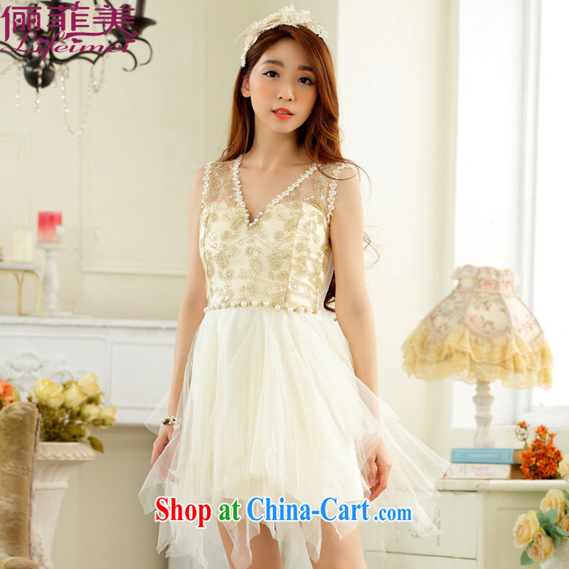 An , the US Korean staple Pearl small V brought back exposed sexy sleeveless style high waist is not rules, with beauty dress celebration small dress champagne color XXXL