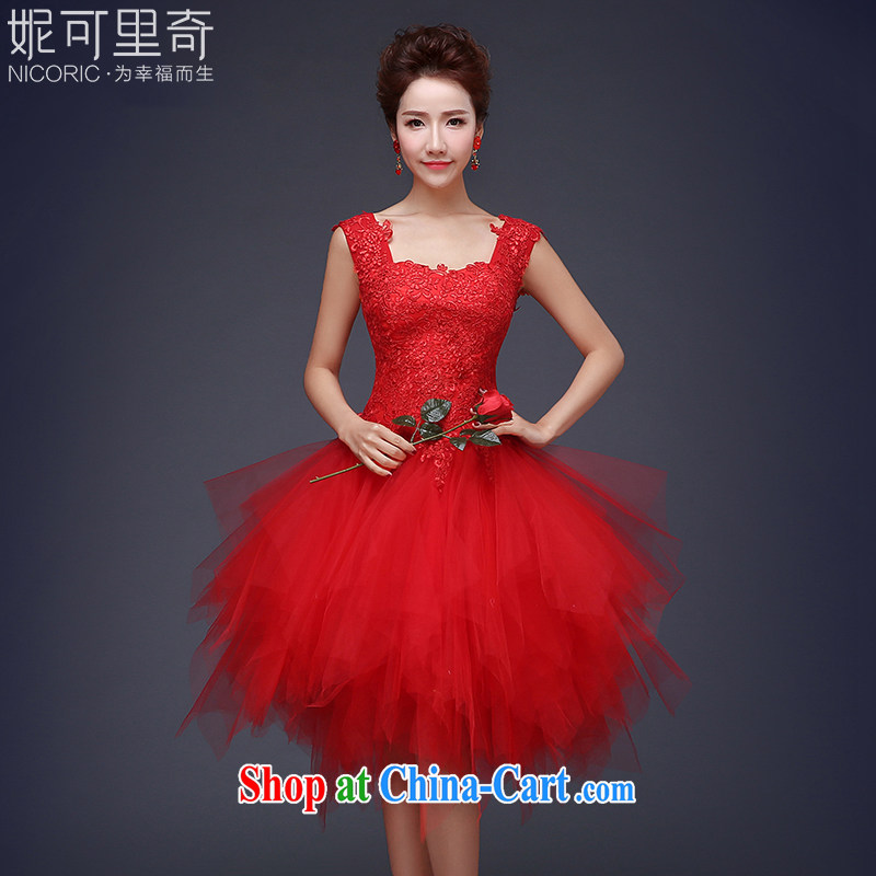 2015 new summer Korean-style lace wedding dresses small short Evening Dress skirt show bridal toast clothing bridesmaid dress red XXL (graphics thin dress)
