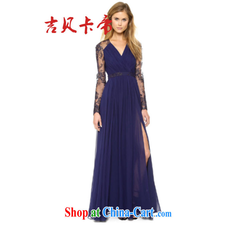 The Bekaa in Dili pre-sale A 27 #2014 speed sell-through ebay Lace Embroidery stitching snow woven large skirt with floor-to-ceiling dress skirt dress blue XL
