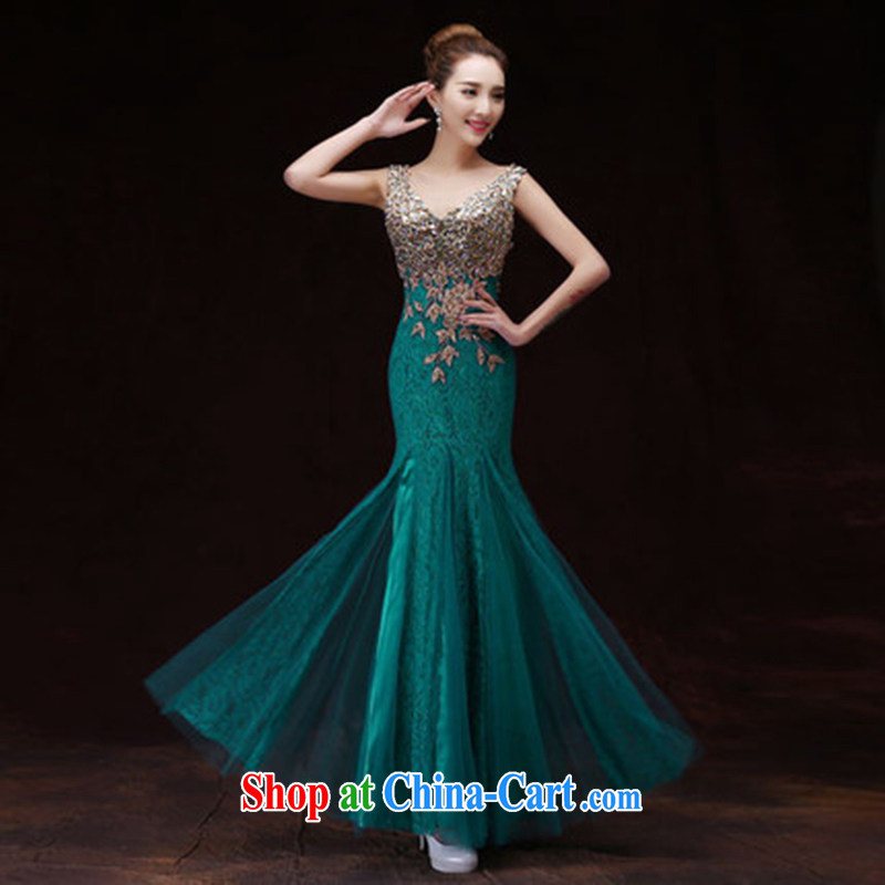 2015 winter clothing bows bridal gown new wedding crowsfoot long gown wedding toast served with a multi-color select army green M