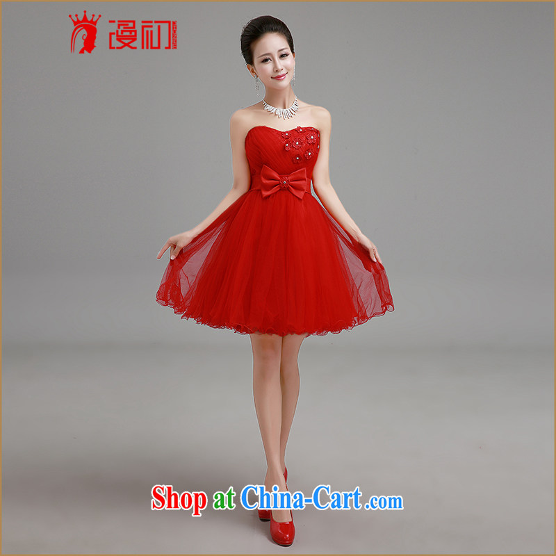 Early definition 2015 New Red erase chest bridal dresses short bridesmaid marriage with his toast with small dress red L