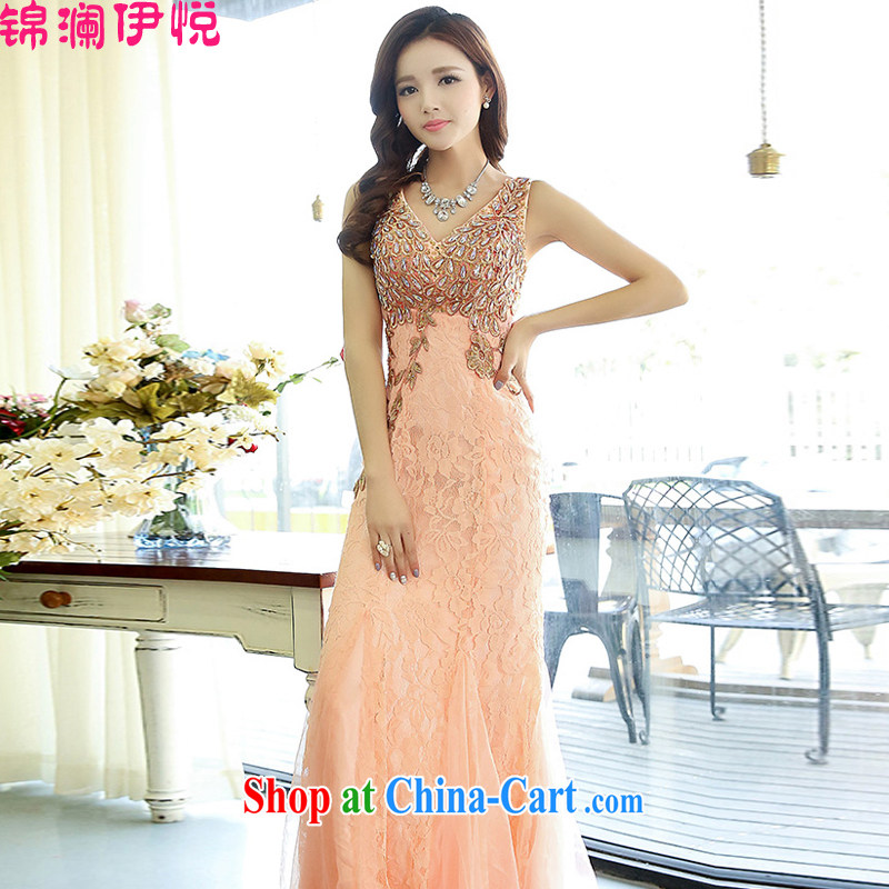 kam world the Hyatt 2015 spring new stylish sexy V collar luxury feel bridal toast clothing dress women's clothing pink XL