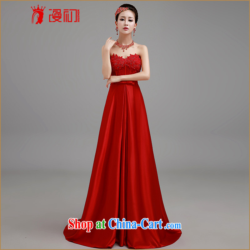 Early definition 2015 new wedding dresses red bows Service Bridal wedding dress long winter the Evening Dress red with XXL paragraph