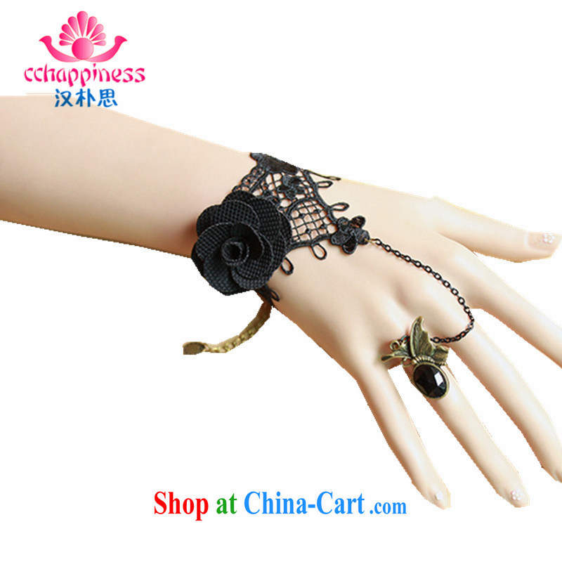 Han Park (cchappiness) Korean fashion ladies black lace rose Hand chain accessories with butterfly Ring Kit wrist ornaments