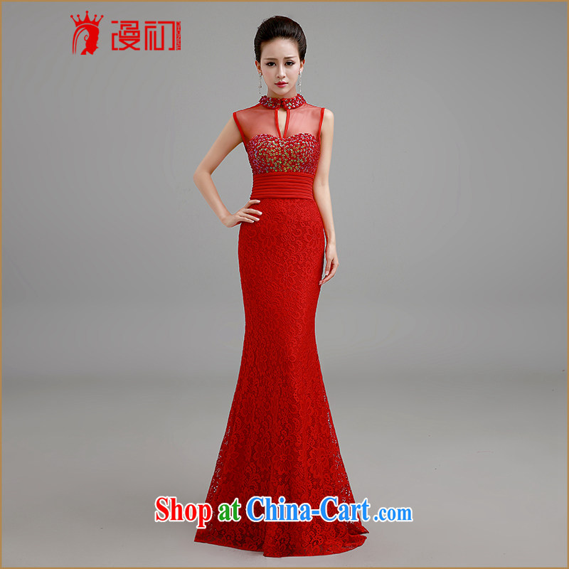 Early definition 2015 new wedding dresses long red dress marriages served toast the evening dress red XL