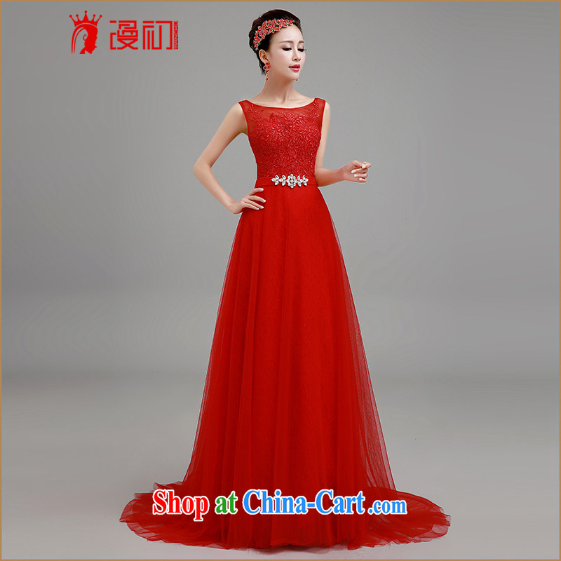 Early definition 2015 new bride's red dress, long-tail dress toast reception service wedding dresses evening dress the red line, to make contact Customer Service