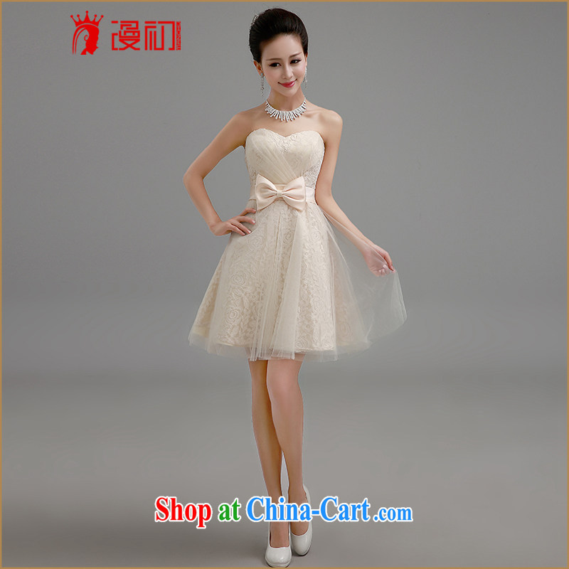 Definition 2015 early new dresses, bare chest lace shaggy dress tied with a short, small dress sister dress bridesmaid serving champagne color. Contact customer service