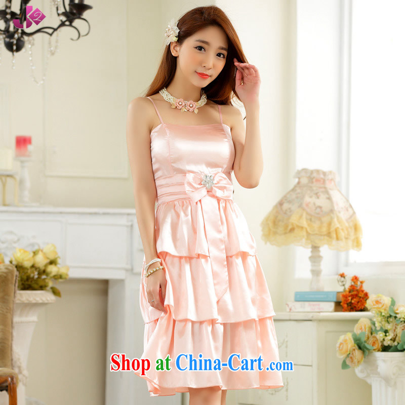 JK 2. YY sweet drill clip sister skirt Evening Dress bridesmaid dress mm thick and fat XL Princess straps dress pink 3 XL 175 recommendations about Jack