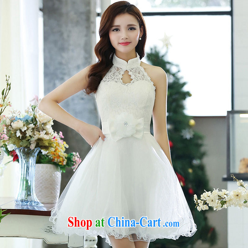 (The 2015 elegance shaggy dress Openwork blossoms sleeveless evening dress bridesmaid service personal photo album service white XL