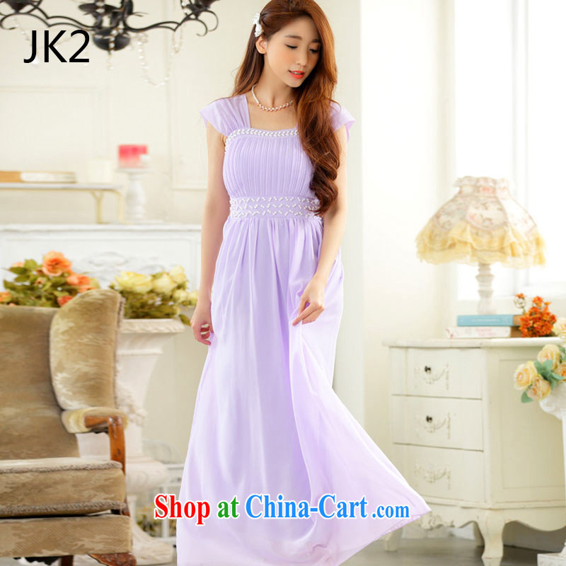 JK 2 2015 new elegant black shoulder manually staple bead Evening Dress sister dress long snow woven dress 9628 purple XXXL