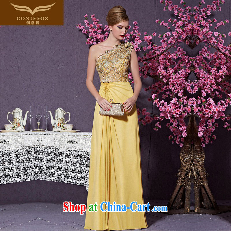 Creative Fox Evening Dress 2015 new high-end custom dress gold single shoulder dress model dresses the annual dress car show dress 82,218 custom, does not support return