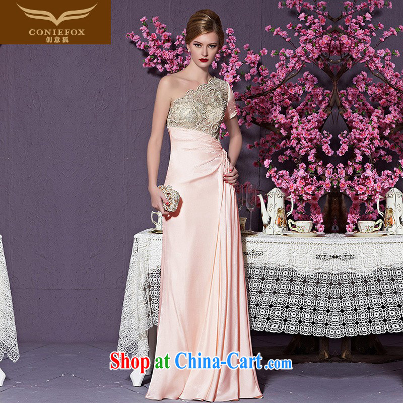 Creative Fox 2015 new high-end custom dress pink single shoulder bridesmaid dress long high-waist dress evening dress wedding dress toast serving 82,225 custom, does not support return to creative Fox (coniefox), online shopping