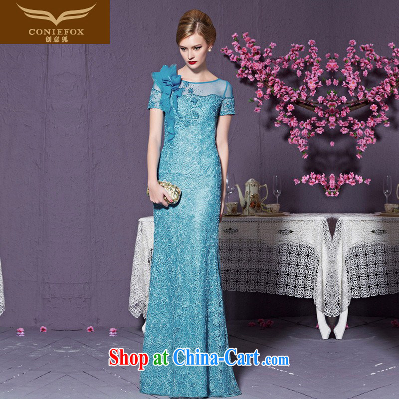 Creative Fox 2015 new high-end dress custom blue dress long dress Banquet Exhibition dress model dress Car Show dress 82,228 custom, does not support return