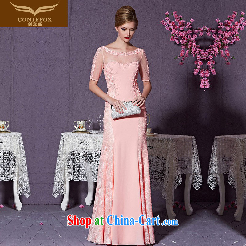 Creative Fox 2015 New Evening Dress high-end custom dress pink dress long high-waist evening dress bridesmaid dress bridal wedding dress 82,212 custom, does not support return