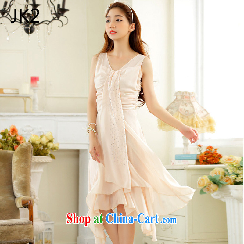 2 JK Korean elegant hot drill video thin irregular, with ribbon snow woven large code dress dress 9832 champagne color XXXL