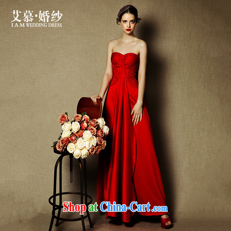 On the wedding dresses new 2015 Red, Red crowsfoot field shoulder bows service drop off service dress red L