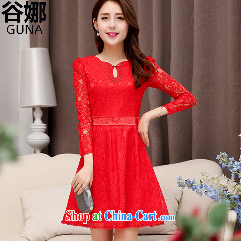 2015 spring and summer new wedding dress the waist graphics thin beauty lace dresses bridal dresses red skirt red XXL