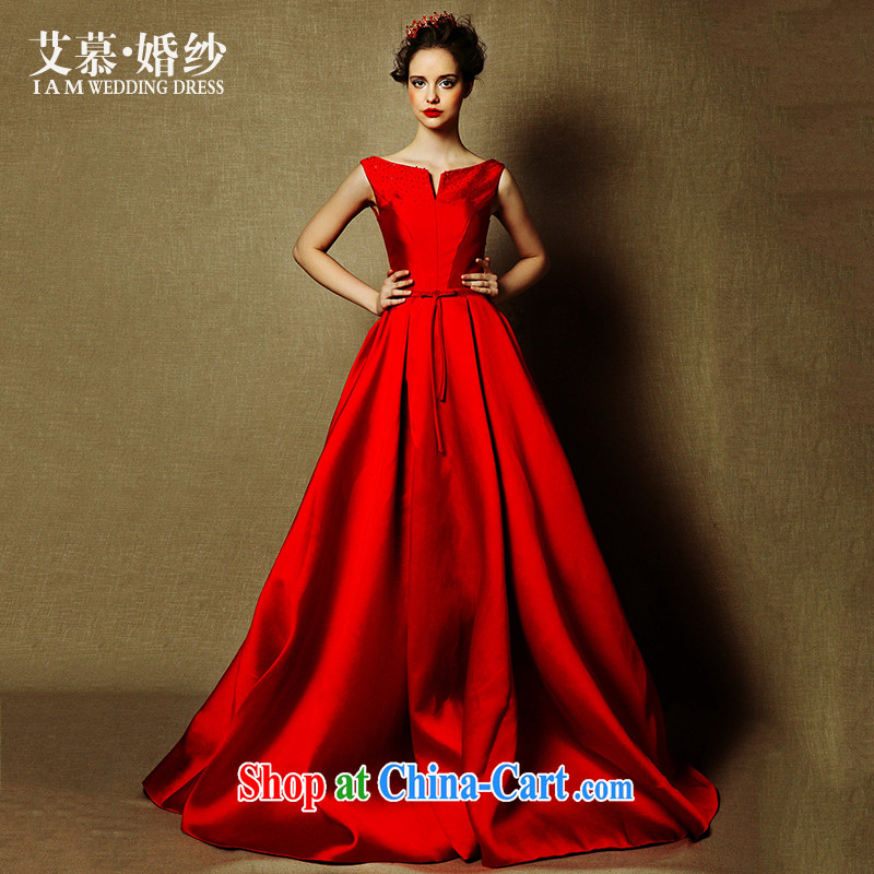 On the wedding dresses new 2015, the red one shoulder long-tail bows serving evening dress red L