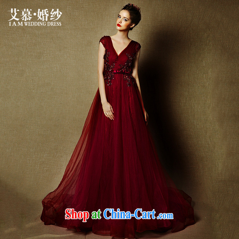 On the wedding dresses new 2015 energy drink Red, deep V shoulders tail bows service dress picture color tailored