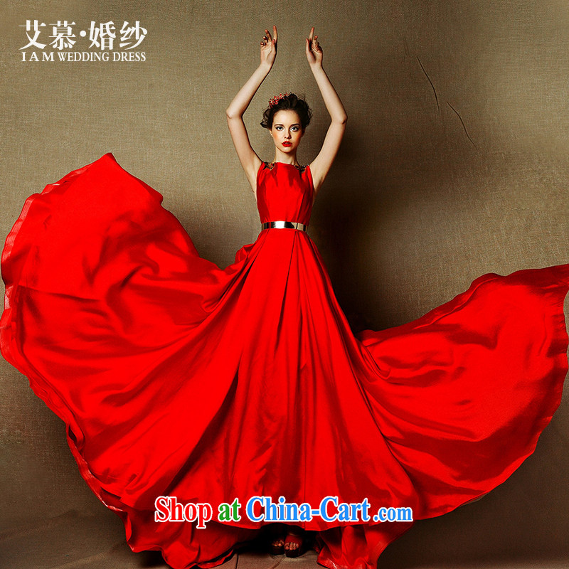 On the wedding dresses new 2015 red operates Red double-shoulder-tail bows service drop off service dress red L