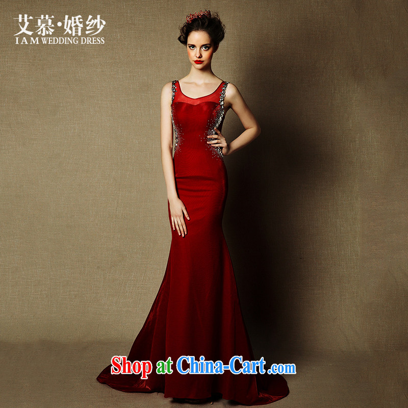 On the wedding dresses new 2015 spring and summer and wine red crowsfoot double-shoulder bridal toast clothing dress dark red L