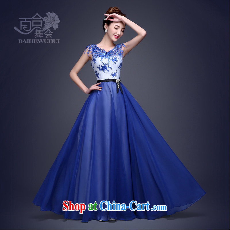100 the ball Evening Dress long 2015 new Korean fashion beauty dress royal blue banquet show moderator dress winter field shoulder blue XXL