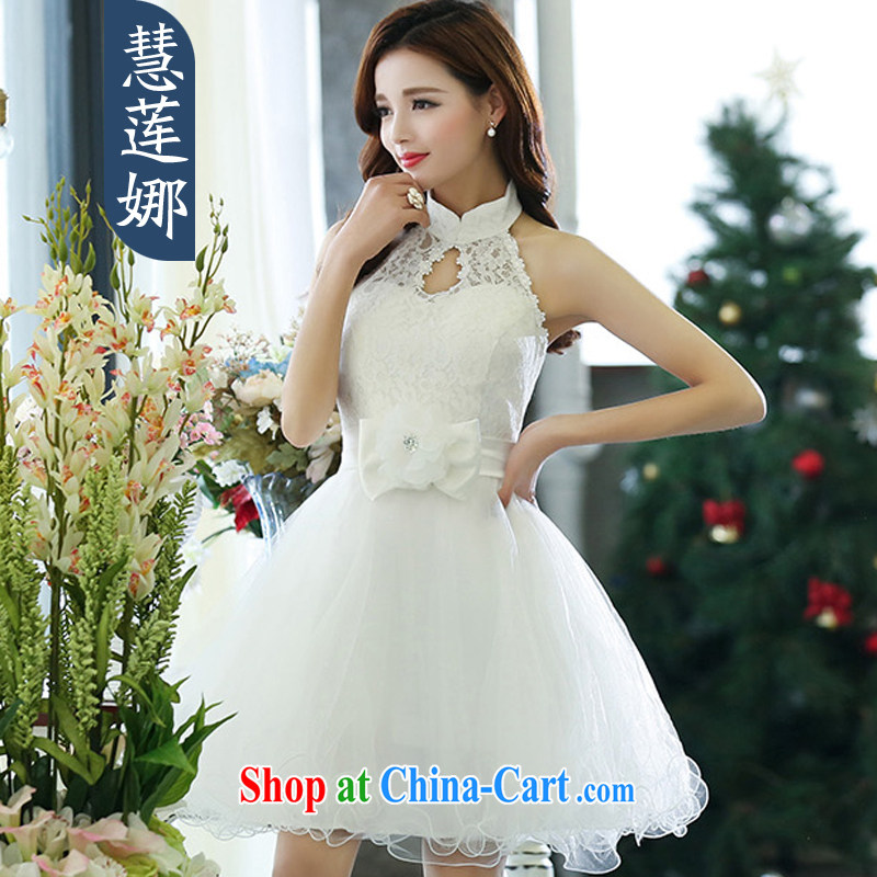 Emily Lin, 2015 spring and summer with new female banquet show beauty sleeveless sexy mount also received snow waist woven dresses dress female HSZM 1516 white M