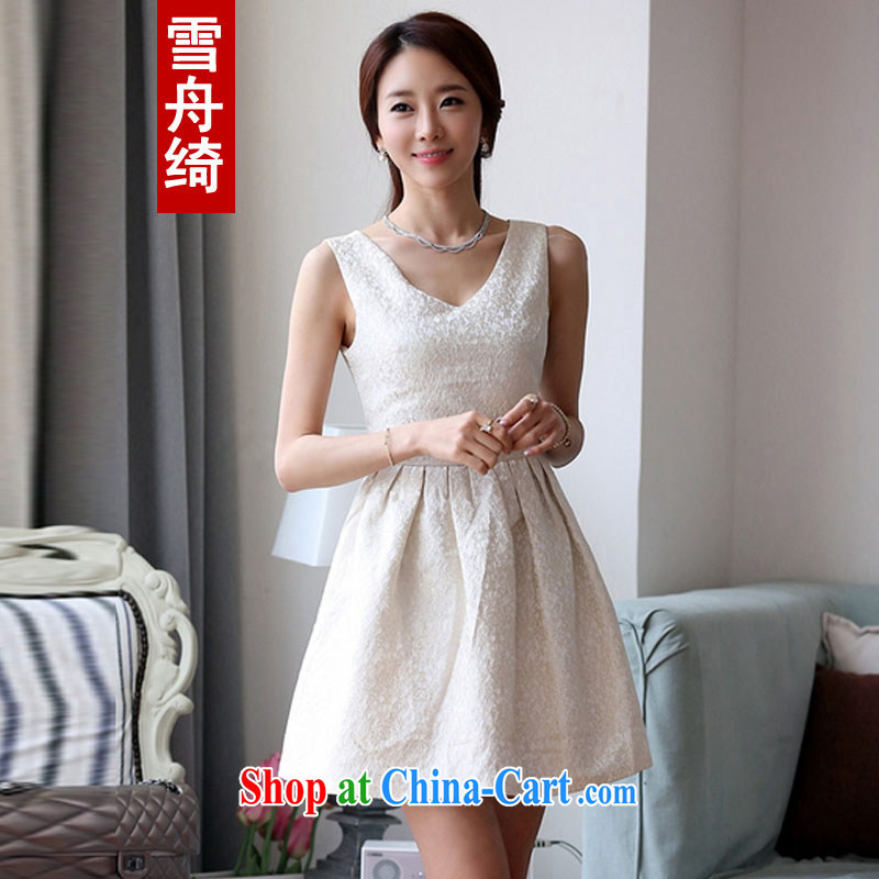 Snow Storm, 2015 spring and summer new Korean Beauty sweet stamp V collar bridesmaid dress dresses Q 5488 m White S