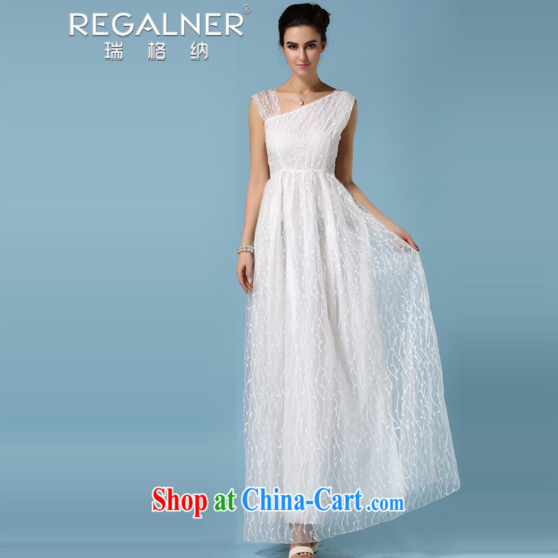 Ryan, 2015, new and advanced pure white European root dresses dresses in full three-dimensional embroidery poplars shawl, crowsfoot dresses a dress 3 white XL
