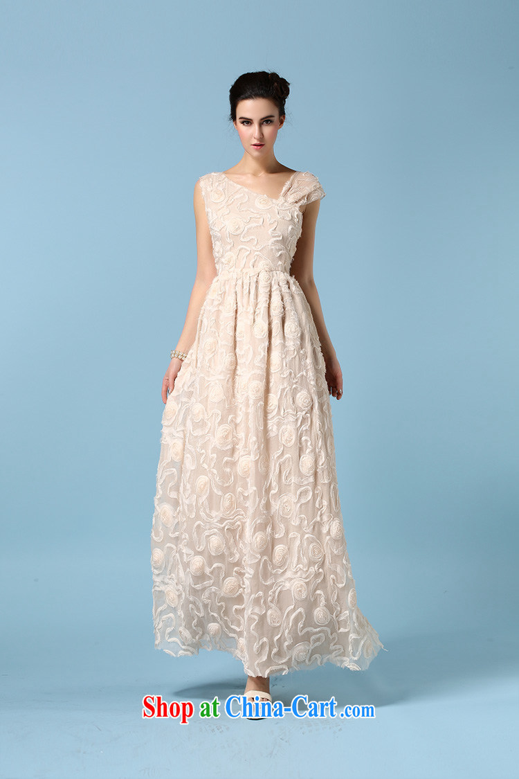 Ryan, the 2015 spring and summer dress single shoulder bare chest dress three-dimensional flower silk wrinkles and long skirt refined apricot XL pictures, price, brand platters! Elections are good character, the national distribution, so why buy now enjoy more preferential! Health