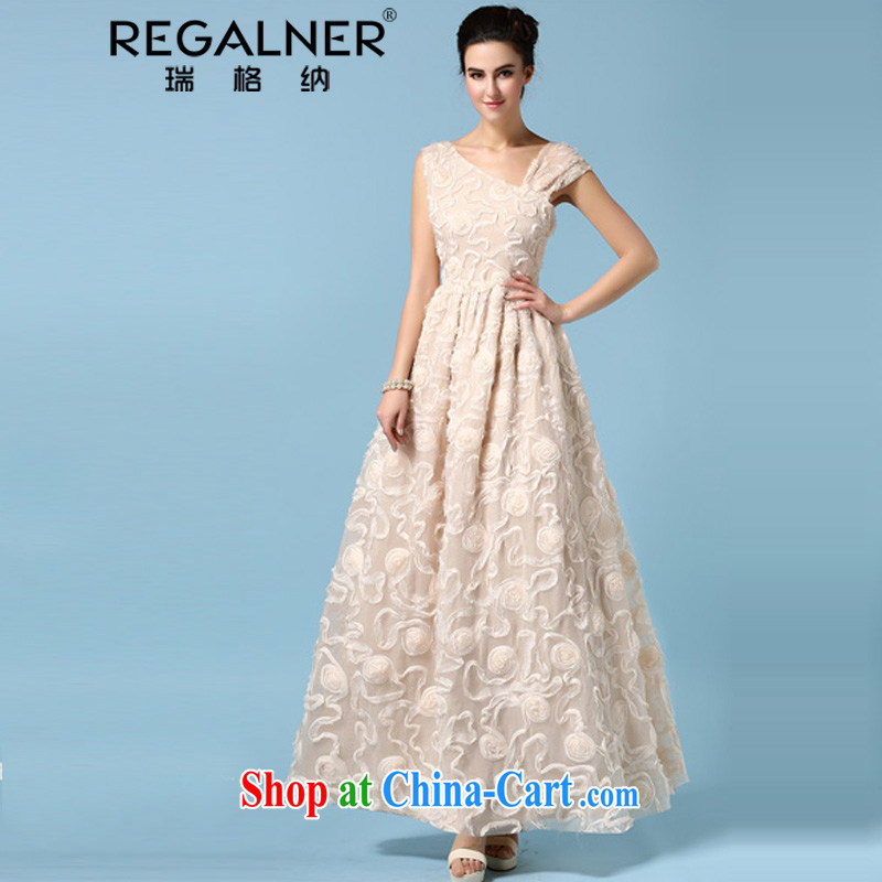 Ryan, the 2015 spring and summer dress single shoulder bare chest dress three-dimensional flower silk wrinkles and long skirt refined apricot XL