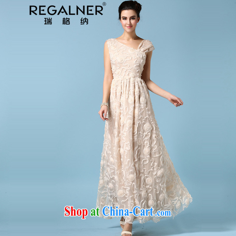 Ryan, the 2015 spring and summer dress single shoulder bare chest dress three-dimensional flower silk wrinkles and long skirt refined apricot XL, Ryan Wagner (REGALNER), shopping on the Internet