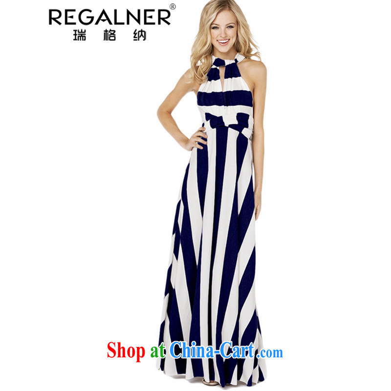 Ryan, 2015, spring and summer, the United States and Europe-wide stripes dress Night Sense of multi-pass through the drag and drop, long skirt dresses A Yi 3 wearing a dark blue stripe, Ryan Wagner (REGALNER), shopping on the Internet