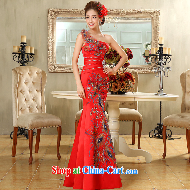 A good service is 2015 new marriages cultivating red long single shoulder performance service dress uniform toasting red 2 XL