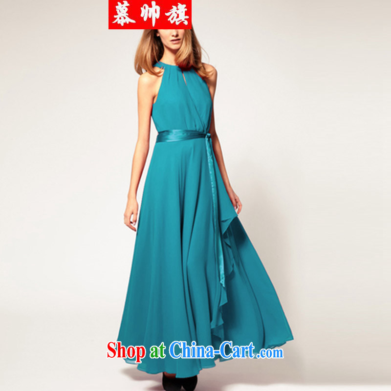 Summer 2015 large swing sleeveless ice woven long skirt style terrace shoulder-length dress dresses women 6072 Lake blue XL