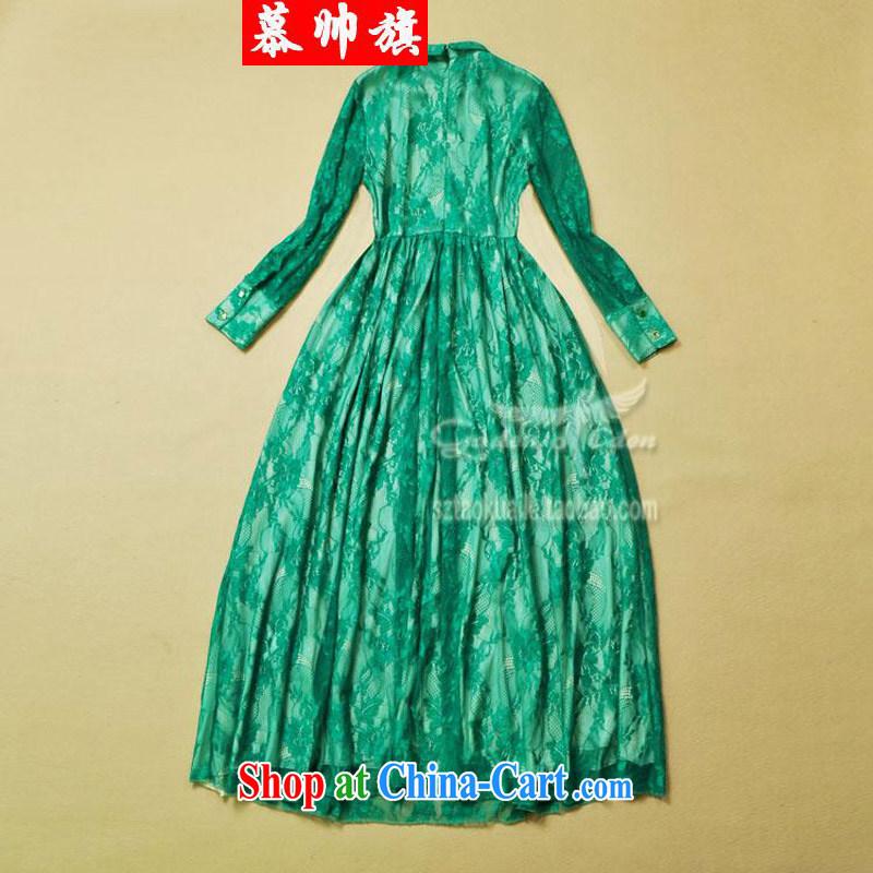 2015 European and American female model show, roll collar long-sleeved lace long skirt elegant dresses dress skirt green L