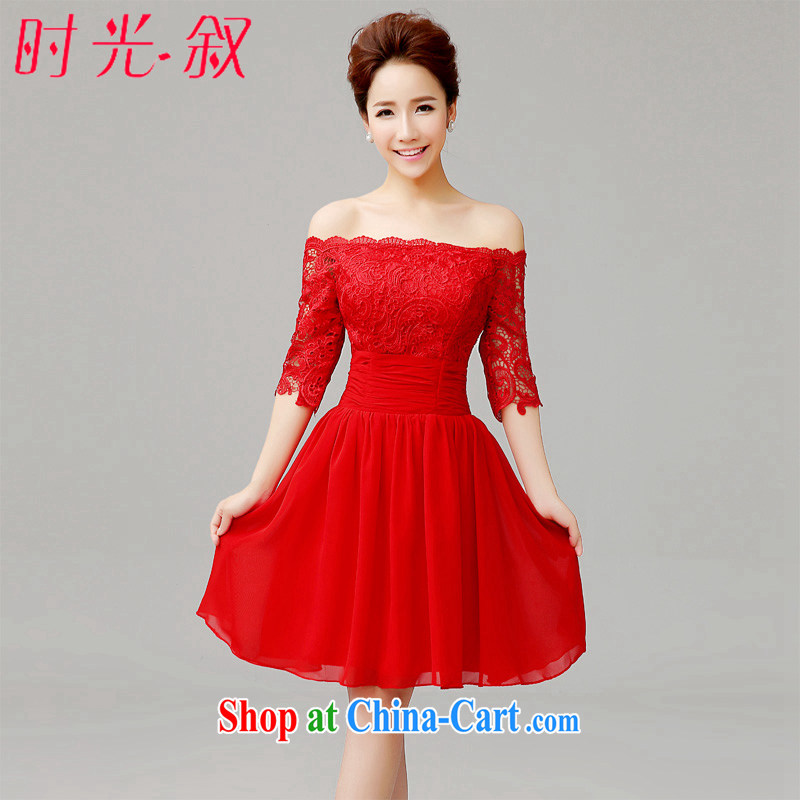 Time his short red dress wedding dress a Field shoulder beauty bridal toast clothing lace snow woven dresses XXL