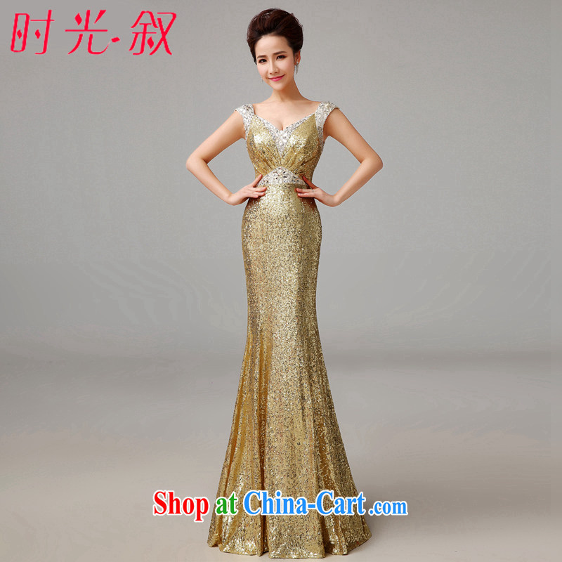 Syria Time gold Evening Dress long banquet new summer toast Service Bridal Fashion crowsfoot cultivating the code stage dinner dress moderator bridesmaid dress female gold XXL