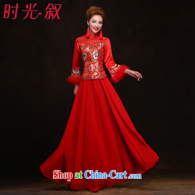 Time his red winter bridal wedding dress Chinese Spring Loaded the code cotton robes bows service improved dress Warm Winter thick stylish winter clothing XXL