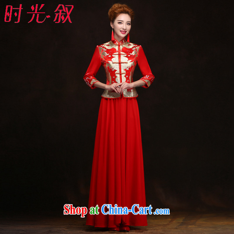 his time in married women cuff cheongsam Chinese improved stylish beauty graphics thin red long bridal toast serving XXL