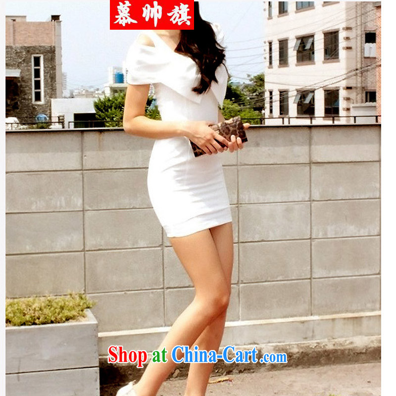 2015 the elegant night sexy Bow Tie your shoulders package beauty and dress dress 5878 white L
