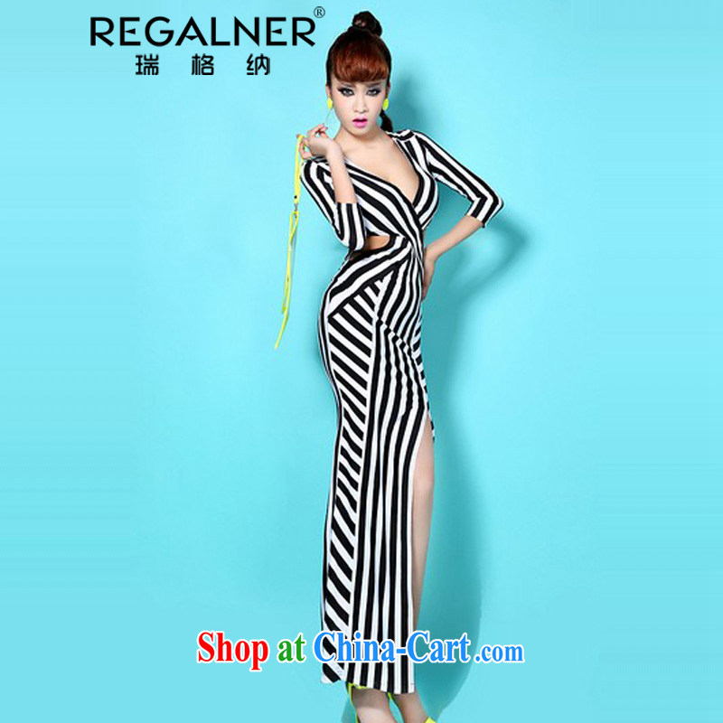 Ryan, in Europe and America 2015 my store sexy goddess dresses side language empty terrace combination waist stripes drape the fork long skirt L streaks